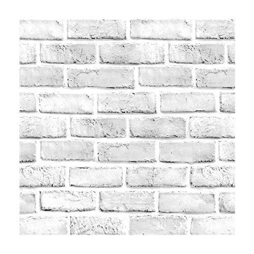 Vintage Bianco Brick Pattern Contact Paper Carta da Parati autoadesiva in Vinile per Salotto, Camera da Letto, Cucina, Bagno Decorazione da Parete 45 x 500 cm