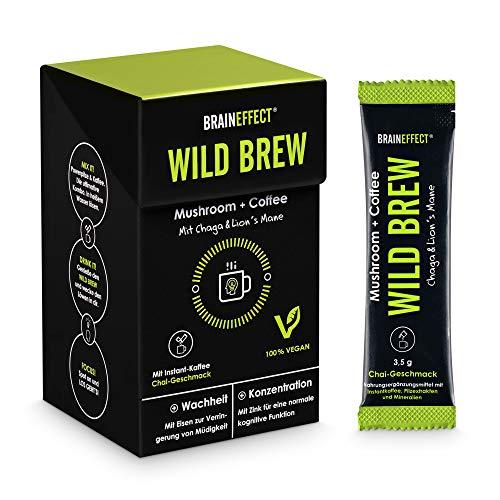 BRAINEFFECT WILD BREW - Mushroom Coffee/Pilzkaffee - Hochdosiert (30% Pilzmischung mit Eisen und Zink), Vegan, Ohne Zusatzstoffe, German Quality - 14 Sticks