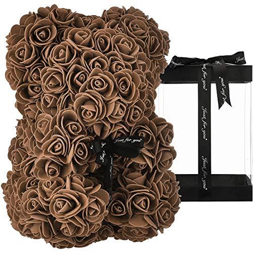 ZHKXBG Rose Bear, Rose Teddy Bear en Cada Rose Bear, para Aniversario, Rose Bear, Madres, Rose Teddy Bear, 14 Pulgadas,Marrón