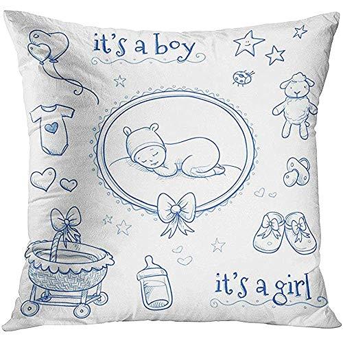 Popcorn In Spring Junge niedliches Baby, das mit Lamm-Schuhen Cradle Stars Hearts und Schnuller Line Announcement Pillow Case schläft