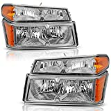 AUTOSAVER88 Headlight Assembly Fit for 2004-2012 Chevy Colorado/GMC Canyon Chrome Housing with Amber Reflector + Bumper Lights (Passenger & Driver Side)