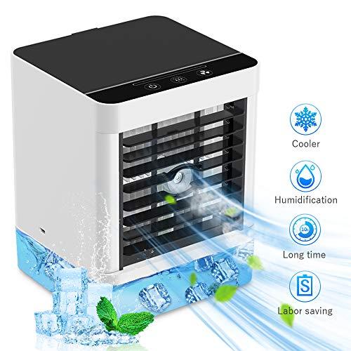 Mobile Klimaanlage, Luftkühler Klein Persönliche Klimaanlage, Verdunstungsgerät Luftbefeuchter Lufterfrischer Ventilator mit 3 Geschwindigkeiten für Schlafzimmer Wohnzimmer Büro