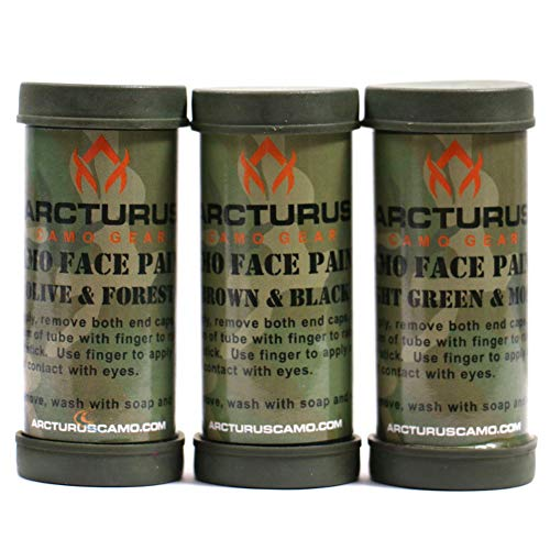 Arcturus Camo Face Paint Sticks - 6 Camouflage Colors in 3...
