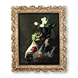 Simon's Shop 8x10 Picture Frames Wall and Tabletop Photo Frame with Rose Flower and Buds Carvings, Vintage Home Decor (Gold)