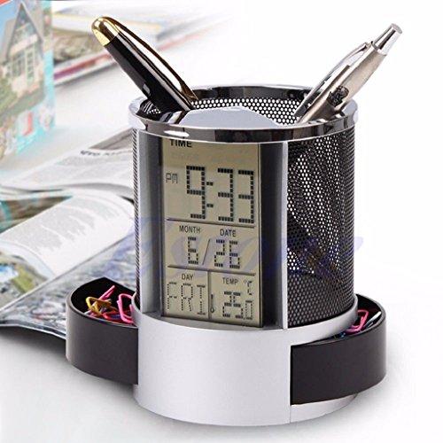 scastoe Digital LED Schreibtisch Wecker Stiftehalter Mesh Kalender Timer Temperatur, schwarz