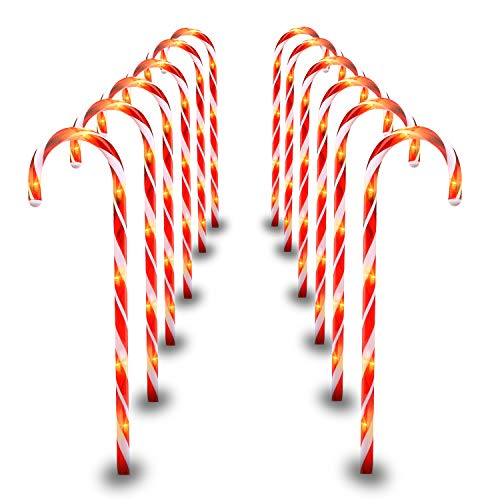 29' Christmas Candy Cane Pathway Markers Set of 12 Christmas Outdoor Outside Decorations Lights 8 Blinking Modes Indoor
