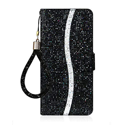 Ailisi Samsung Galaxy A50/A30S/A50S Hülle, Glitzer Pailletten Handyhülle Schutzhülle Leder Tasche Hülle Brieftasche, Wallet Flip Cover Klapphüllen Magnetisch Ledertasche Etui mit Kartenslot -Schwarz