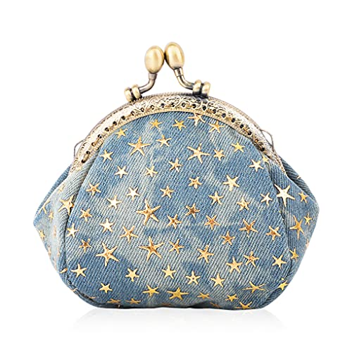Oyachic Five-Pointed Star Porte-Monnaie Vintage Portefeuille Denim Femme Sac de Rangement Fermoir Clic clac Petit Pochette pour Carte de Crédit (Azul)