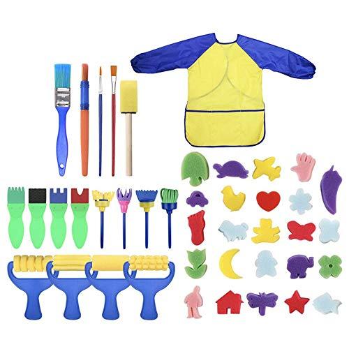 WH-IOE Sets de pinceaux de Peinture 42 Pcs éponge Peinture Brosses Kit éponge Dessin Formes Peinture Artisanat Pinceau Peinture à l'huile pour Aquarelle (Color : Multi-Colored, Size : 42pcs)
