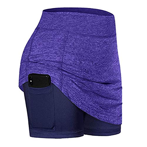 Women Athletic Pencil Skirts with Shorts Pockets Lightweight Active Skorts for Running Tennis Golf Workout Purple