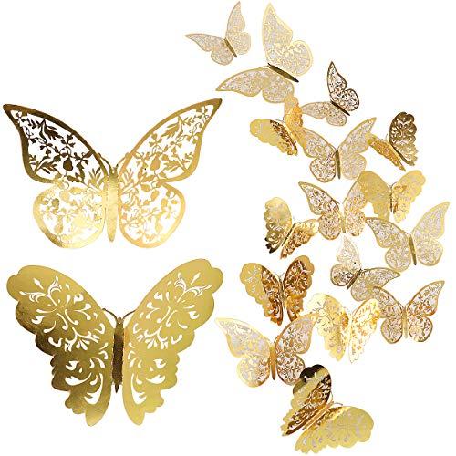 24 Stück Schmetterling Wandaufkleber, Mixed 3D Schmetterlinge Wandtattoos, lebendige Flash Wandaufkleber für Zuhause, Schlafzimmer, Baby Room Decor (Gold)