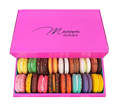 Leilalove Macarons Mademoiselle de Paris Collections of 15 - Gift box varies in color Macarons are packed individually for maximum freshness/damage prevention Free Enclosure card with your message
