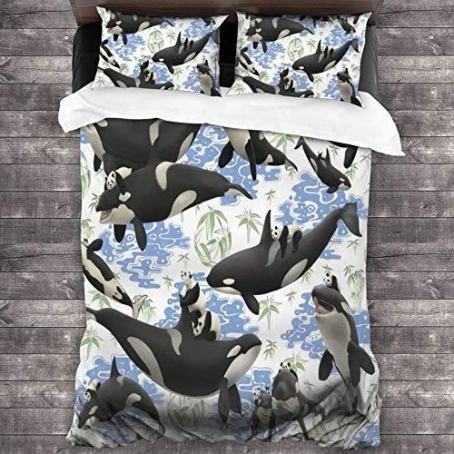Juego de ropa de cama de 3 piezas con diseño de panda y ballena asesina, 201 x 180 cm, juego de edredón con 2 fundas de almohada cuadradas de sujeción suave para dormitorio de los niños