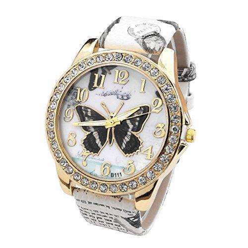 JSDDE - Reloj de pulsera para mujer, cuarzo, analógico, esfera con cristales...