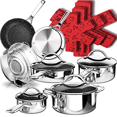 DF 17-Piece Mirror Stainless Steel Pots and Pans Set