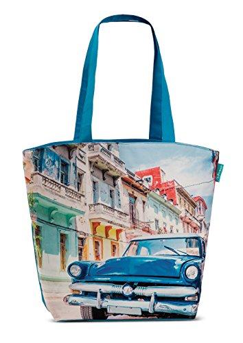 Badetasche Strandtasche Kuba Retro Umhängetasche Freizeit Strand Tasche Einkaufstasche Oldtimer Blau