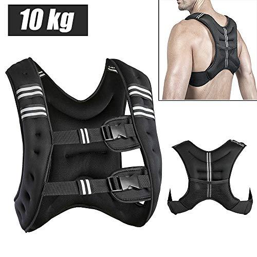 Viktväst träningsväst 10 kg vikter väst löpväst 36 * 20 * 9 cm fitness (svart)