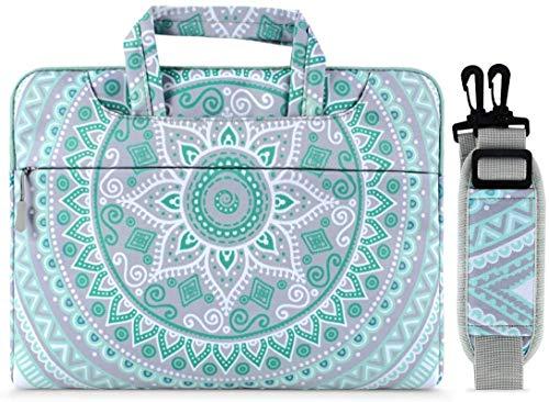 MOSISO Laptop Schultertasche Kompatibel mit 17-17,3 Zoll MacBook/Notebook/Netbook/Chromebook, Canvas Mandala Muster Schutzhülle Aktentasche Handtasche Sleeve Hülle, Mint Grün & Blau