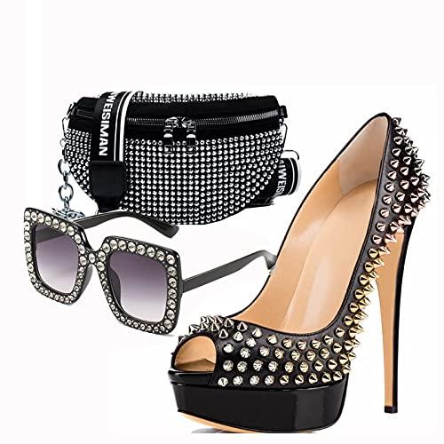 Sandalias y Bolsos de Hombro Sexy para Mujer y Gafas de Sol Personalizadas, Tacones Altos con Boca de Pez, Bolso de Hombro con Remaches de 10 cm de Alto, Conjunto de Bolsos para Zapatos de Boda,45EU