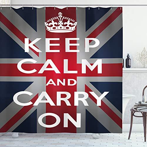 ABAKUHAUS Union Jack Duschvorhang, Wörter Crown UK Flagge, Moderner Digitaldruck mit 12 Haken auf Stoff Wasser & Bakterie Resistent, 175x220 cm, Marine-Blau, Rot, Weiß