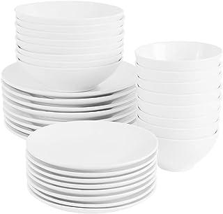 ProCook Antibes - Vaisselle de Table en Porcelaine Blanche - 32 Pièces/Pour 8 Personnes - Petite Assiette, Grande Assiett...