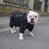 Lovelonglong Dogs Waterproof Jacket, Lightweight Waterproof Jacket Reflective Safety Dog Raincoat Windproof Snow-Proof Dog Vest for Pugs English French Bulldog American Pit Bull Black B-M
