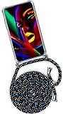 ONEFLOW - Cadena para teléfono móvil compatible con OnePlus 8 Pro, funda para teléfono móvil con cordón extraíble, funda con cadena, color negro y multicolor