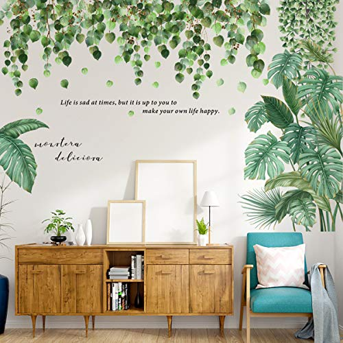 4 Piezas Vinilo Decorativo Plantas Tropicales, Pegatinas de Pared Planta Tropicales,Planta Tropical Hoja de Tortuga Etiqueta de La pared,Adecuado para Dormitorio, Sala de Estar, Pared de Fondo de Tv