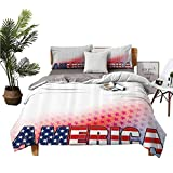 American Decor Juego de 3 piezas bellamente impreso en la cama, bandera de Estados Unidos en América con estrellas de fondo ilustración libertad independencia Libertad adecuado para cualquier...