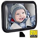 車用 ベビーミラー インサイトミラー 大判(サイズ:300×190mm) 一年保証付 360度回転 大視野ミラー 後ろに向かず子供の様子を確認 無料清潔布とカード付き