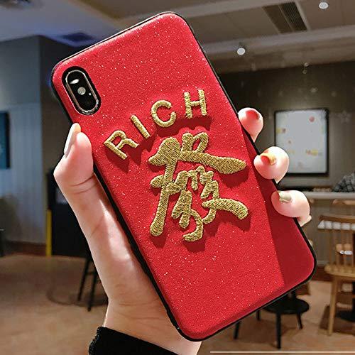 JINYIWEN telefoon geval wind borduurwerk maakt rijk geld voor AppleX mobiele telefoon geval voor iphone 8plus xr 7 xs max harde schaal 6sp rood nieuwjaar- voor iphone 8-rijk