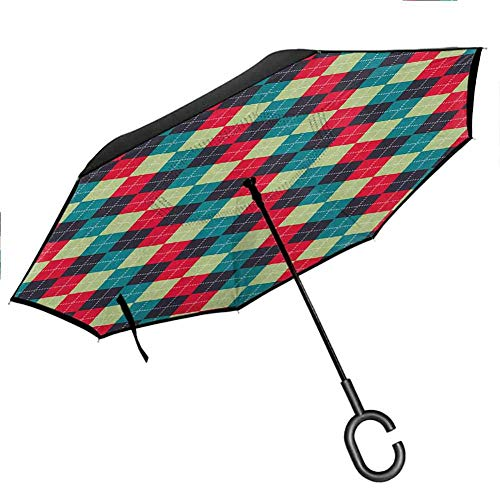Why Should You Buy Inverted Inside Out Sun Rain Navy and Teal,Classical Argyle Diamond Line Pattern Vintage Traditional Colorful Retro, Multicolor Rain Car Umbrellas for Women