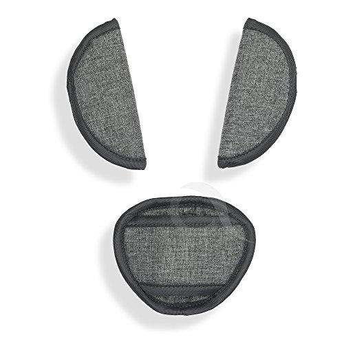 BELTS PADS SHOULDER STRAP & CROTCH cover UNIVERSAL Fits most buggy, stroller, car seat (JJ L grey)