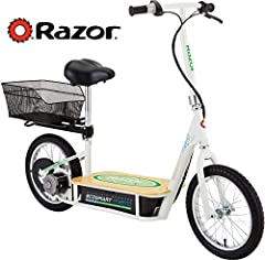 Battery-powered electric sit-down scooter with bamboo deck and powder coated frame for emissions-free transportation 500-watt extra high torque motor; 36 volt electrical system; variable speed throttle control Ultra padded seat; adjustable handlebar ...