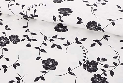 Qualitativ hochwertiger Baumwolle Satin Stretch, Blumen Schwarz/Weiß als Meterware zum Nähen von Erwachsenenbekleidung, 50 cm