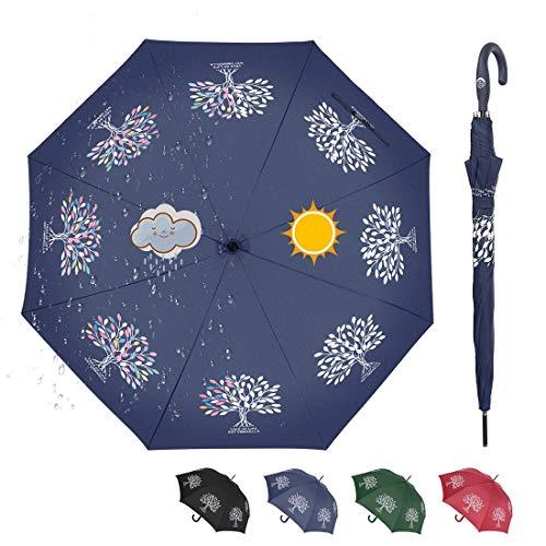 CARRYWON Auto Open Stick Umbrella,Color Changing Golf Umbrellas Windproof Sunshade Sunblock UPF30+ for Women Kids Adult(Blue)