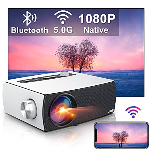 """Artlii Enjoy 3 Portable Native 1080P 5G WiFi Bluetooth Projector, 9000L & 300"""" Display, Movie Projector Support Zoom & Keystone, Compatible with TV Stick/iOS/Android/PS4"""