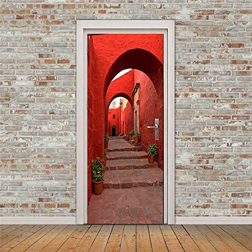 QMTZDQ TürPoster 3D Kreative Rote Steinwand Tür Aufkleber Schlafzimmer Wohnzimmer Wasserdicht Selbstklebende Wandaufkleber,90 * 200CM