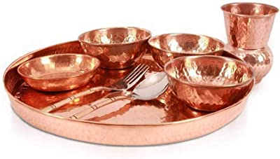 FirsteShop Pure Copper Best Quality Traditional Kitchen Dinner Set of 1 (1 Thali, 3 Bowls,1 Pudding,1 Spoon, 1 Fork,1 Glass) Special Thali Plate for Home Decorative Restaurant