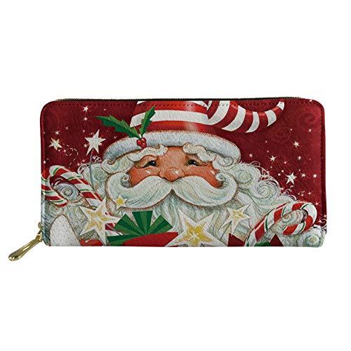 Coloranimal Kawaii Frohe Weihnachten Weihnachtsmann bedrucktes Leder Damen Slim Leder Geldbörse Kreditkartenhalter mit Reißverschluss Verschluss Große Kapazität Lange Brieftasche Clutch Handtasche