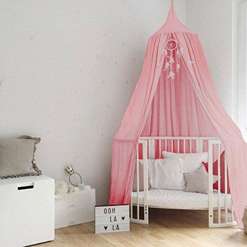 Baby Betthimmel Baldachin Baumwolle Rund Moskitonetz Insektenschutz Kinder Prinzessin Spielzelte Dekoration fürs Kinderzimmer (Rosa)