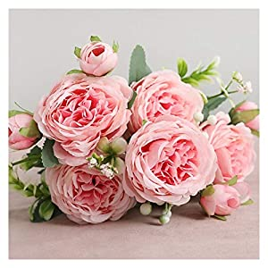 XIAOQIU Artificial Flowers Beautiful Rose Peony Artificial Silk Flowers Small White Bouquet Vases for Home Party Winter Wedding Decoration Fake Flowers (Color : 6)