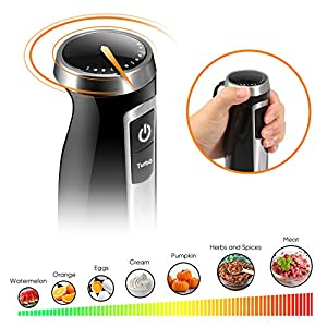 Stabmixer, Coziselect 4 in 1 Pürierstab, 800 Watt, 3-teiliges Zubehör-Set, geeignet für die Zubereitung von Babynahrung, Salaten, Suppen und Gemüse, Schwarz