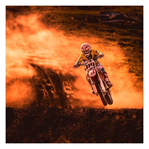 Tapete selbstklebend - Motocross im Staub - Fototapete Quadrat 192x192 cm