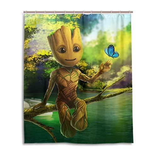 YOMORIO Guardians Galaxy Groot Art Duschvorhang Badezimmer Dekoration Wasserdicht Duschvorhang mit 12 Kunststoffhaken 152,4 x 182,9 cm