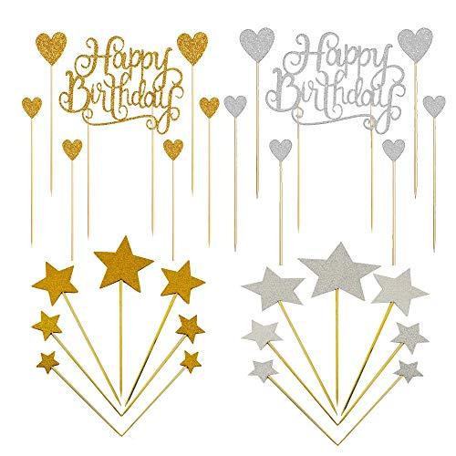 BluVast Deco Gateau Anniversaire,42 Pièces Happy Birthday Gâteau Toppers , doré Argent étoile Décorations de Cupcakes Motif Toppers Picks Fournitures pour Décoration de Fête d'anniversaire