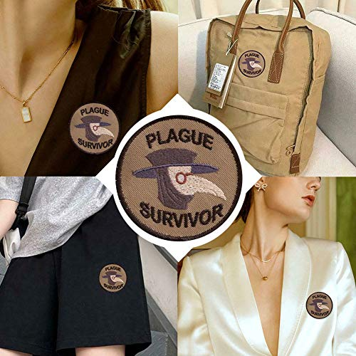 Plague Survivor Geek Merit Badge Patch,Velcro Parches Mochila,Embroidered Patches,Parche de Velcro para Mochila,Parches de Velcro Redondos (3 PCS)