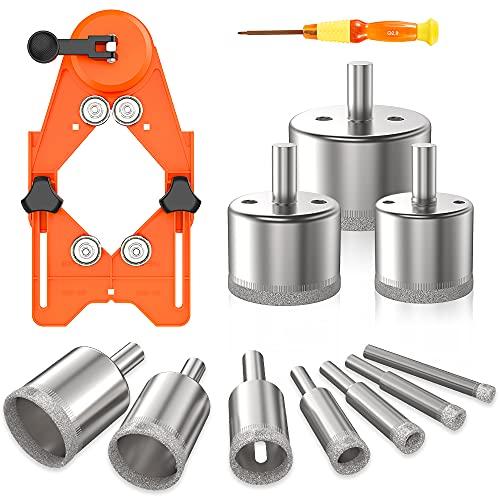 Kyoffiie Diamond Drill Bits, 16Pcs Diamond Hole Saw Set with 10Pcs Tile Hole Saw Set & Adjustable Hole Saw Guide Jig Fixture 6mm-50mm for Glass, Porcelain, Ceramic, Marble, Tile, Granite