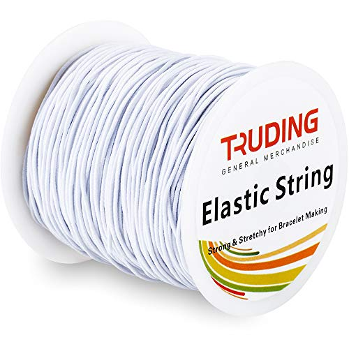 Truding 109 Yard Elastic Cord, 0.8MM Small Beading Thread Stretch String for Jewelry Making Bracelets Beading (White)