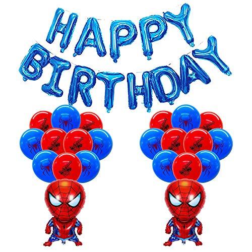 smileh Decoracion Cumpleaños Spiderman Globos Spider Man Pancarta de Feliz Cumpleaños para Niños Decoraciones de Fiesta